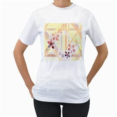Swirl Flower Curlicue Greeting Card Women s T-Shirt (White) (Two Sided)