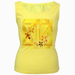 Swirl Flower Curlicue Greeting Card Women s Yellow Tank Top