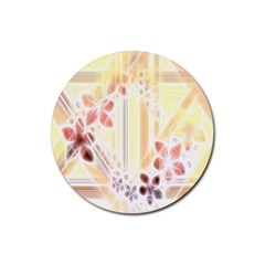 Swirl Flower Curlicue Greeting Card Rubber Round Coaster (4 pack)
