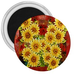 Sunflowers Flowers Abstract 3  Magnets