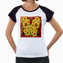 Sunflowers Flowers Abstract Women s Cap Sleeve T