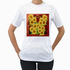 Sunflowers Flowers Abstract Women s T-Shirt (White) (Two Sided)