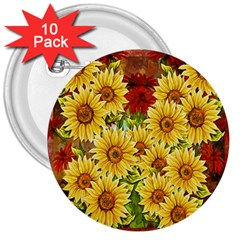 Sunflowers Flowers Abstract 3  Buttons (10 Pack)