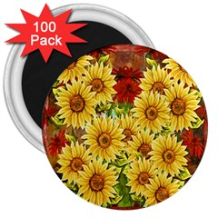 Sunflowers Flowers Abstract 3  Magnets (100 Pack)