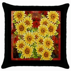 Sunflowers Flowers Abstract Throw Pillow Case (black)