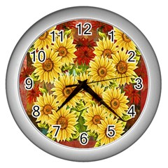 Sunflowers Flowers Abstract Wall Clocks (Silver)