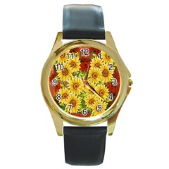 Sunflowers Flowers Abstract Round Gold Metal Watch