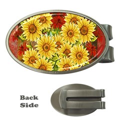 Sunflowers Flowers Abstract Money Clips (oval)