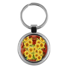 Sunflowers Flowers Abstract Key Chains (Round)