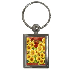 Sunflowers Flowers Abstract Key Chains (Rectangle)