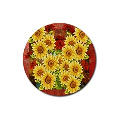 Sunflowers Flowers Abstract Rubber Coaster (round)