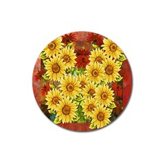 Sunflowers Flowers Abstract Magnet 3  (round)