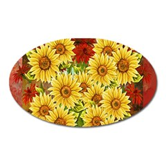 Sunflowers Flowers Abstract Oval Magnet