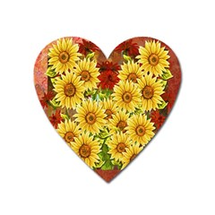 Sunflowers Flowers Abstract Heart Magnet