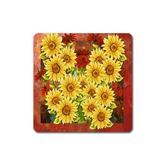 Sunflowers Flowers Abstract Square Magnet