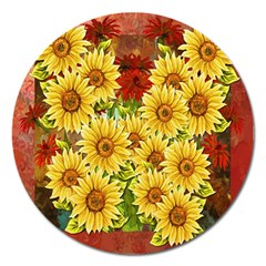 Sunflowers Flowers Abstract Magnet 5  (Round)