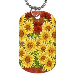 Sunflowers Flowers Abstract Dog Tag (One Side)