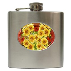 Sunflowers Flowers Abstract Hip Flask (6 Oz)