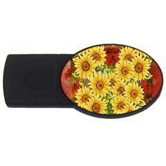 Sunflowers Flowers Abstract USB Flash Drive Oval (2 GB)