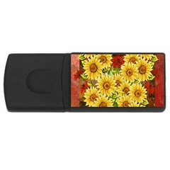 Sunflowers Flowers Abstract USB Flash Drive Rectangular (1 GB)