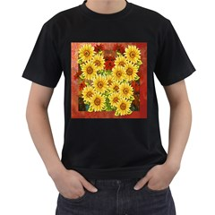 Sunflowers Flowers Abstract Men s T-Shirt (Black) (Two Sided)