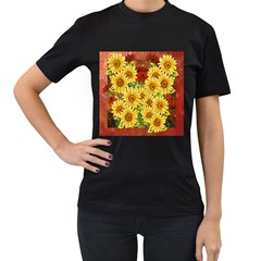 Sunflowers Flowers Abstract Women s T Shirt (black) (two Sided)