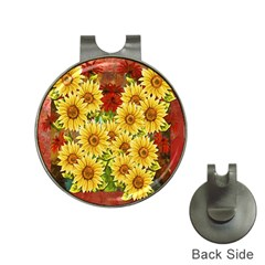 Sunflowers Flowers Abstract Hat Clips with Golf Markers