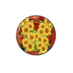 Sunflowers Flowers Abstract Hat Clip Ball Marker (4 pack)