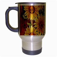 Sunflowers Flowers Abstract Travel Mug (silver Gray)