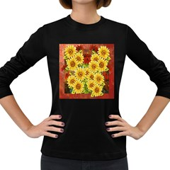 Sunflowers Flowers Abstract Women s Long Sleeve Dark T Shirts