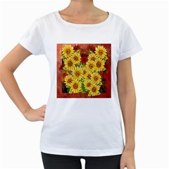 Sunflowers Flowers Abstract Women s Loose-Fit T-Shirt (White)