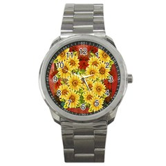 Sunflowers Flowers Abstract Sport Metal Watch
