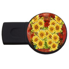 Sunflowers Flowers Abstract USB Flash Drive Round (4 GB)