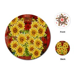 Sunflowers Flowers Abstract Playing Cards (round)
