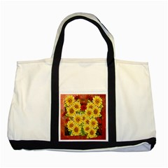 Sunflowers Flowers Abstract Two Tone Tote Bag
