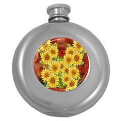 Sunflowers Flowers Abstract Round Hip Flask (5 oz)