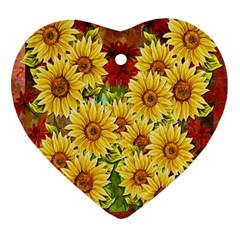 Sunflowers Flowers Abstract Heart Ornament (two Sides)