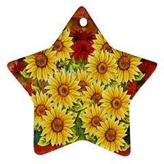 Sunflowers Flowers Abstract Star Ornament (Two Sides)