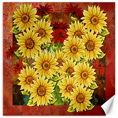 Sunflowers Flowers Abstract Canvas 16  X 16