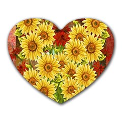 Sunflowers Flowers Abstract Heart Mousepads