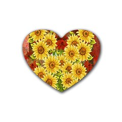 Sunflowers Flowers Abstract Heart Coaster (4 pack)