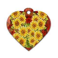 Sunflowers Flowers Abstract Dog Tag Heart (One Side)