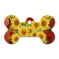 Sunflowers Flowers Abstract Dog Tag Bone (Two Sides)