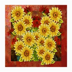 Sunflowers Flowers Abstract Medium Glasses Cloth