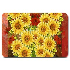 Sunflowers Flowers Abstract Large Doormat