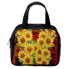 Sunflowers Flowers Abstract Classic Handbags (One Side)