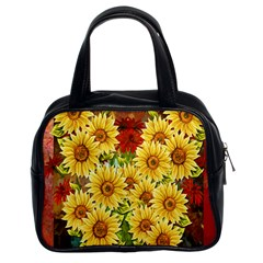 Sunflowers Flowers Abstract Classic Handbags (2 Sides)
