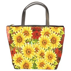Sunflowers Flowers Abstract Bucket Bags