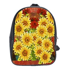 Sunflowers Flowers Abstract School Bags(large)