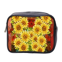 Sunflowers Flowers Abstract Mini Toiletries Bag 2 Side